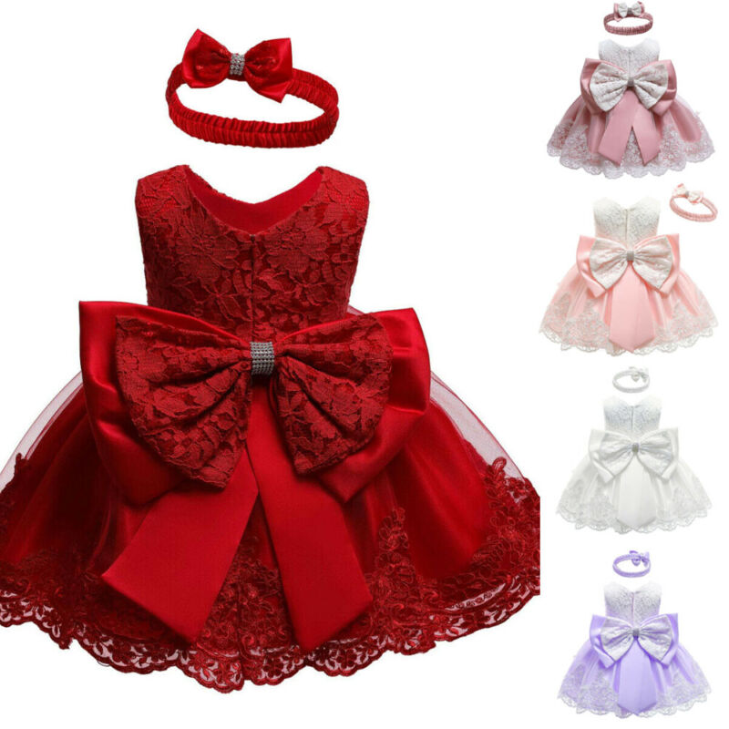 Newborn Kids Baby Bow Girls Party Lace Dress Wedding Bridesmaid Dresses Princess