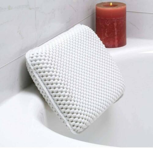 Non-Slip Foam Spa Bath Pillow Featuring 8 Suction Soft Luxurious White
