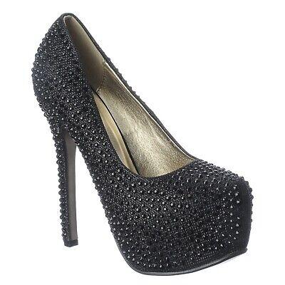 Toe Prom High Heel Pump (H161 Wedding Prom Rhinestone Almond toe High Stilettos Heel Platform Pump Size 6 )