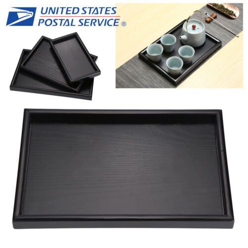 Wood Black Tray Serving Trays Tea Plate Coffee Plates Bread