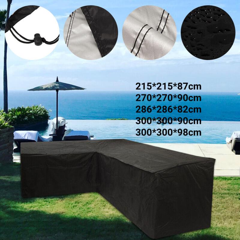 Garden Furniture - L-Shape Furniture Cover Outdoor Garden Rattan Corner Sofa Protective Waterproof