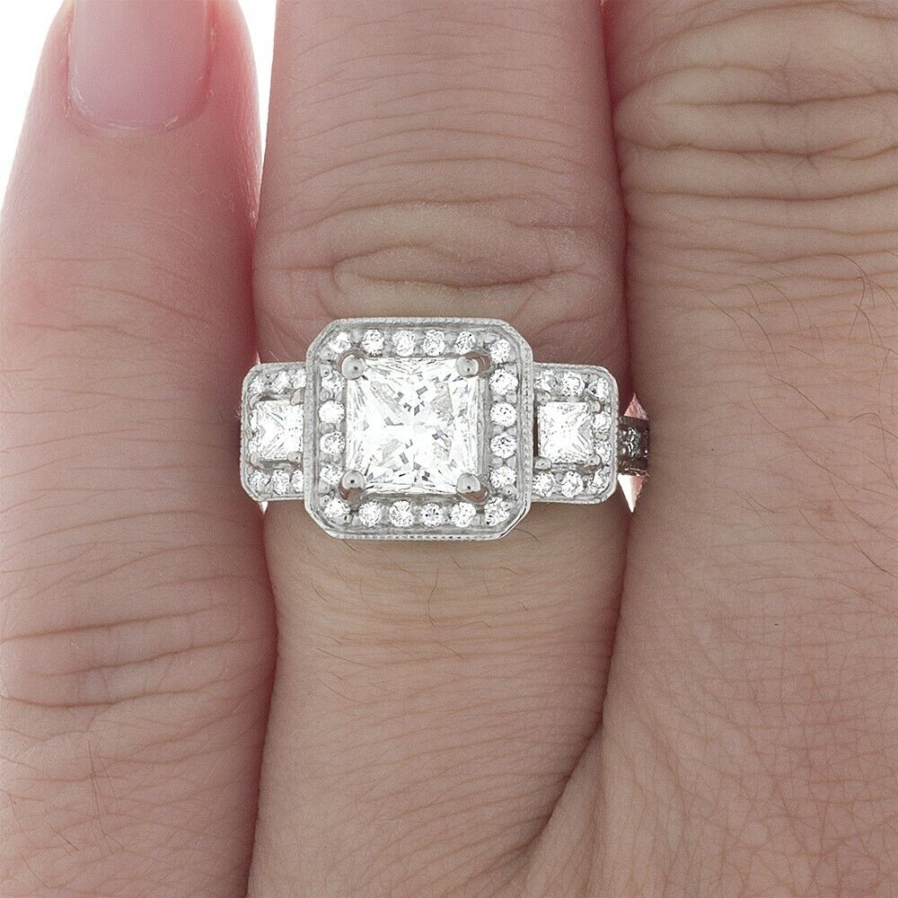 GIA Certified Diamond 3 Stone Engagement Ring 3.60 CT Princess Cut Platinum VS1