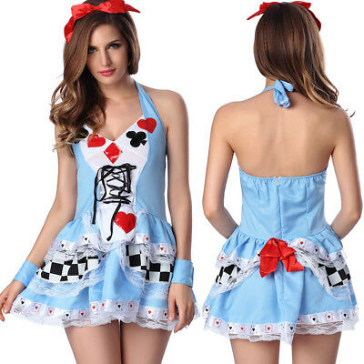 Women Poker Sexy Maid Outfit Halloween Costume Cosplay Fancy Dress Clubwear Set ](Halloween Women Outfits)