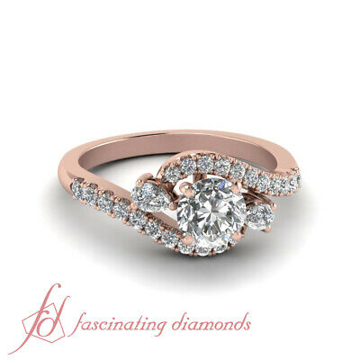 Bypass Round Engagement Ring 1.10 Carat Round Cut Diamond In 18K Rose Gold GIA