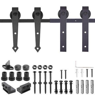 - 6FT 6.6FT Sliding Barn Wood Door Hardware No-Joint Carbon Steel Track Closet Kit