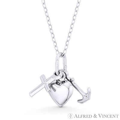 Anchor, Cross, & Heart Charm .925 Sterling Silver w/ Rhodium Pendant & Necklace