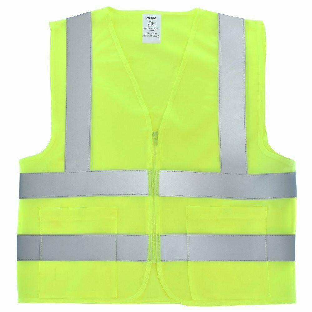 2 Pockets Yellow Solid-Mesh High Visibility Safety Vest, ANS