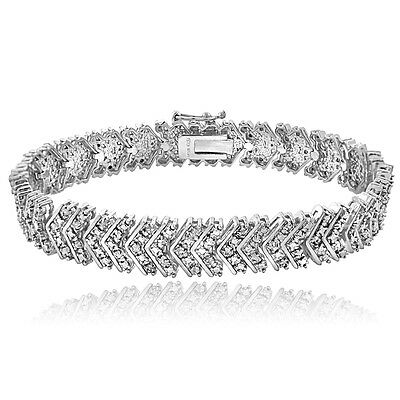 1.00ct TDW Diamond Chevron Bracelet in Gold or Silver Tone Brass