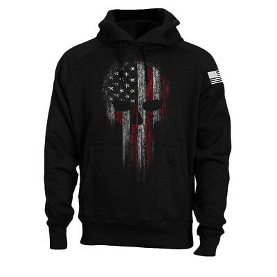 USA American Military Skull Flag Patriotic Hoodie Sweatshirt