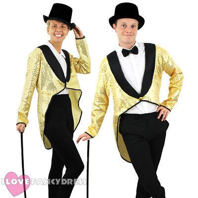 Ringmaster Dance Costume (GOLD SEQUIN TAILCOAT UNISEX CABARET FANCY DRESS CIRCUS RINGMASTER DANCE)