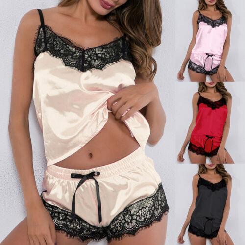 Sexy Damen Spitze Pyjama Set Schlafanzug Nachtwäsche Lingerie Dessous Negligee