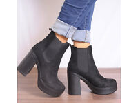 BOOHOO/KOI COUTURE BLACK FAUX SUEDE BOOTS SIZE 5 BRAND NEW UNWORN STILL BOXED