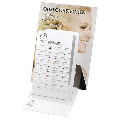 Verkaufs Display für STUDEX Ohrstecker mit 18 Ohrsteckern bestückt System 75