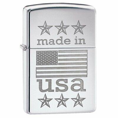 Zippo 29430 Made in USA with Flag High Polish Chrome Finish