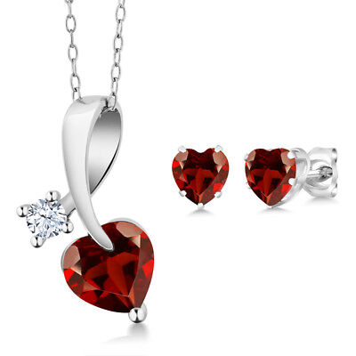 2.51 Ct Heart Shape Red Garnet 925 Sterling Silver Pendant Earrings Set