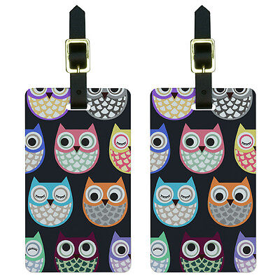 Cute Owls - Owl Pattern Luggage Suitcase Carry-On ID Tags Set of 2