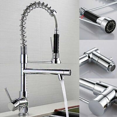 Edelstahl Ausziehbar Spültischarmatur Küchen Wasserhahn Spiralfeder mit Brause #