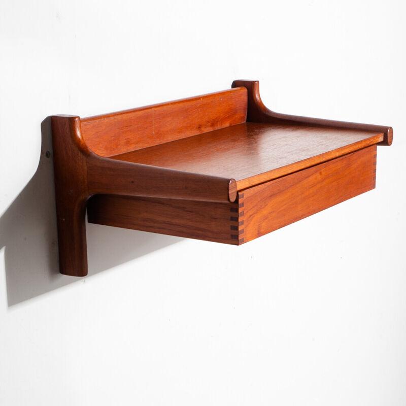 Mid Century Danish Modern Nightstand Floating Table Teak Borge Mogensen Soborg