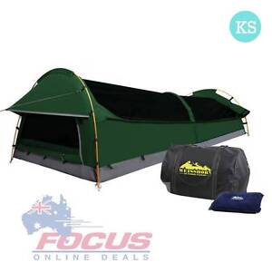 KingSingle Camping Canvas Swag Tent Green W/ Air Pillow Melbourne CBD Melbourne City Preview