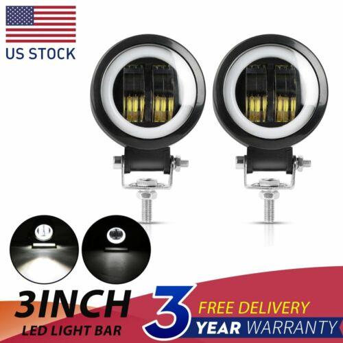 2X 3inch LED WORK LIGHT BAR Round Spot Lamp Driving Fog White DRL Offroad Motor