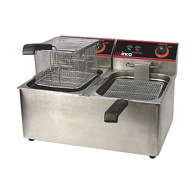 Winco Eft-32 32-ounce Countertop Electric Twin Well Deep Fryer