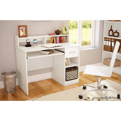 Home Office Computer Desk Workstation Wood Laptop PC Submit Drawer Shelf White