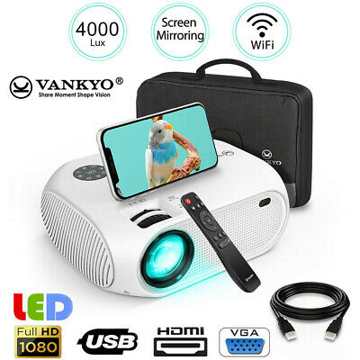 VANKYO LEISURE 450 Full HD 1080p Mini Projector 4000 Lux HDMI USB AV Home -White