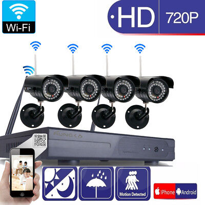 Wireless 8CH NVR Outdoor WIFI IR-CUT IP Camera Motion Detection Security System