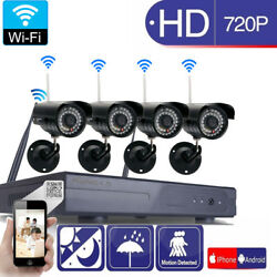 Wireless 8CH NVR In/Outdoor WIFI IR-CUT Camera Motion Detection Security System