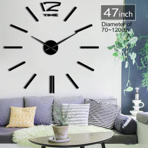 Simple Number Mirror Effect DIY Wall Clock Decor Quartz Batt