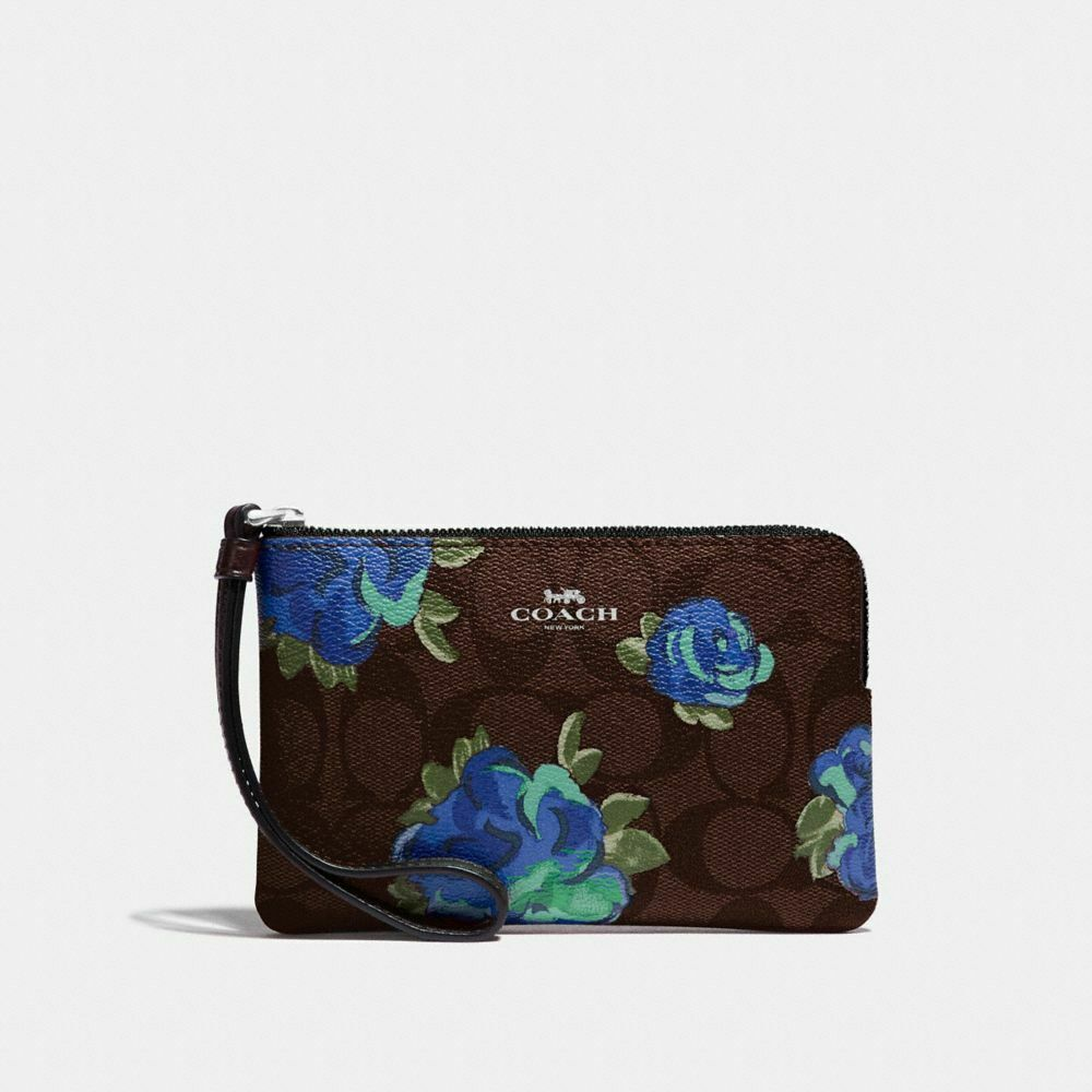 New Coach F58032 F58035 Corner Zip Wristlet With Gift Box New With Tags Brown Floral Print