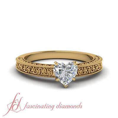 1/2 Carat Heart Shape Diamond Celtic Engraved Engagement Ring In 18K Yellow Gold