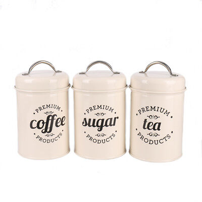 Ivory Canister Set (X021B Ivory Set 3 Kitchen Food Storage Canister Coffee Sugar Container Tea Jar )