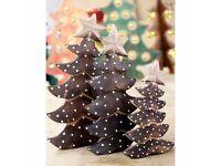 Set Of Three Fair Trade Wooden Christmas Tree Statues