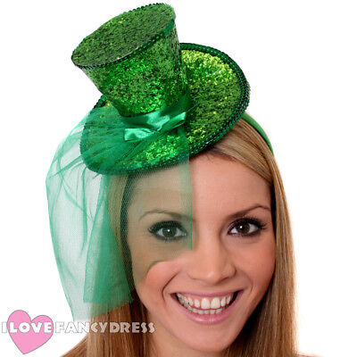GREEN MINI GLITTER TOP HAT HEADBAND VEIL LADIES BURLESQUE PARTY FANCY DRESS