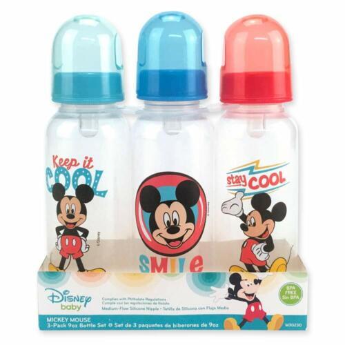 Disney Baby Mickey Mouse Bottles 9 oz Baby Bottles 3 Pack BPA Free New