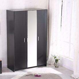 **14-DAY MONEY BACK GUARANTEE!** Holgate 3 Door German Wardrobe with Mirror - Black Oak White Beech