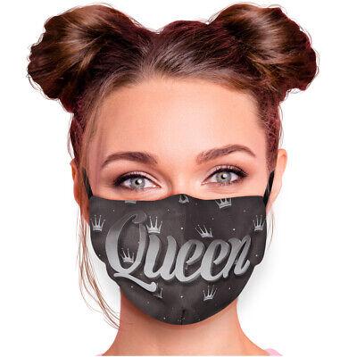 Stoffmaske Schwarz Weiß Queen ⭐ Mundschutz Maske Für Paare Mund Nasen Bedeckung
