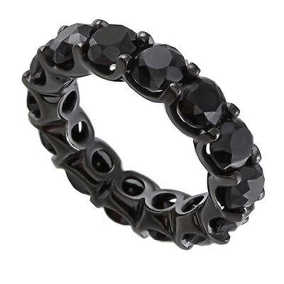 2.51 Carat Natural Black Diamond Full Eternity Wedding Band Ring 14K Black -