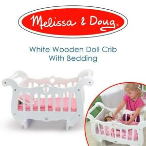 Used Melissa  Doug White Wooden Doll Crib With Bedding (30 x 18 x 16 inches) Condtion: Lightly Used broken piece refe...