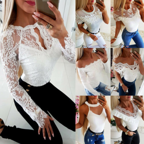 Damen Spitze Weiß Schulterfrei T-Shirt Bluse Sommer Oberteile Langarmshirt Tops