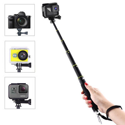 Extendable Selfie Stick for GoPro Hero 5/4/3 etc. with Remote Clip Mount
