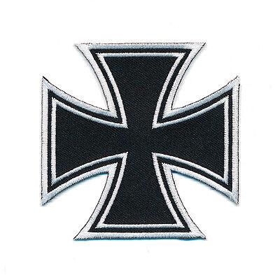 80 x 80 mm Kreuz Iron Cross Malteser Biker Patch Aufnäher Aufbügler 0668 X