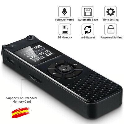 8G HD Grabadora de Voz Digital Portátil Profesional con Reproductor MP3