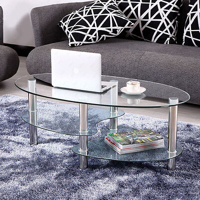 Modern Tempered Glass Oval Coffee Table End Side Tables With Shelves Living Room ()