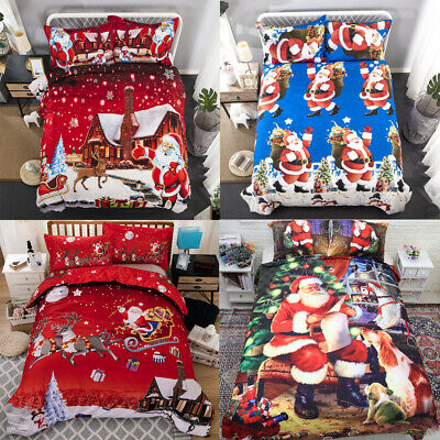 Father Christmas Santa Presents Quilt Duvet Cover Double King Bedding Sets ()
