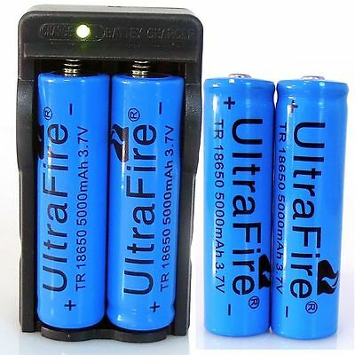 4PCS UltraFire 3.7v 5000mAh 18650 Battery Li-ion Rechargeable Battery + Charger on Rummage