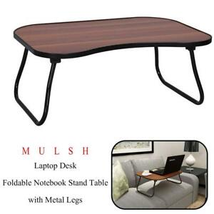 NEW MULSH Laptop Desk Foldable Notebook Stand Table with Metal Legs and MDF Top Board (Walnut) Condtion: New, Walnut