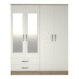 Beatrice 4 door 2 drawer mirrored wardrobe oak and white