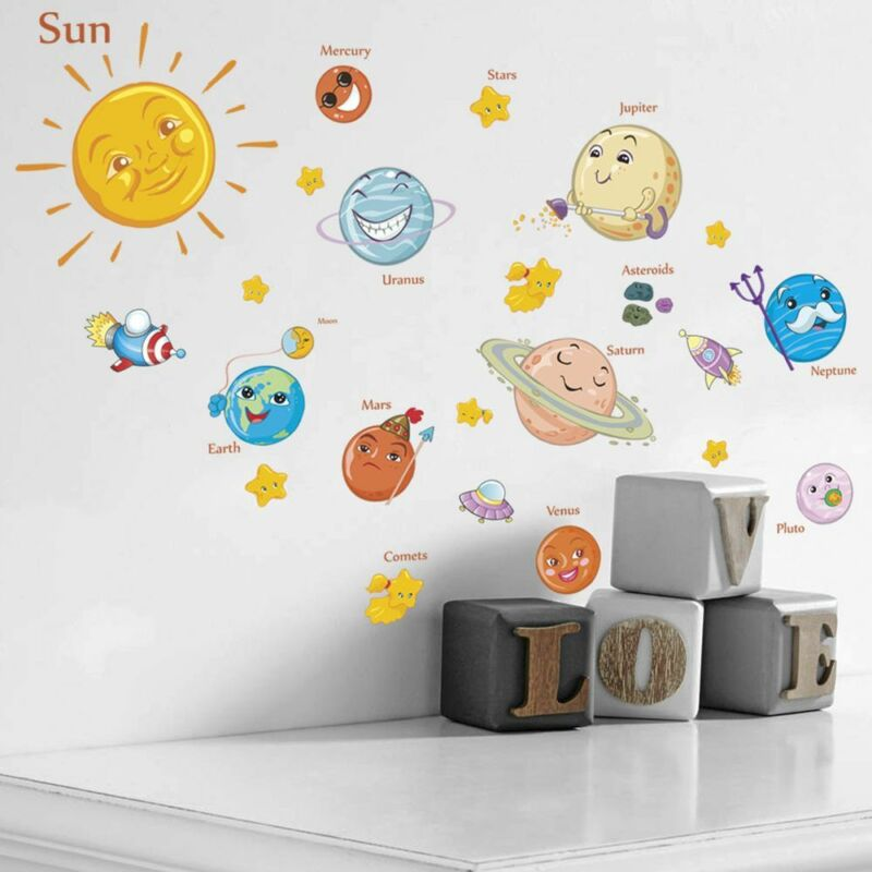 Details about Kids Children Bedroom Decor Planets Decals Poster Mural Wall  Stickers Paper